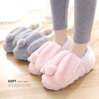 冬季棉拖鞋女包跟韩版室内家居保暖毛绒拖鞋厚底加绒情侣毛毛拖鞋