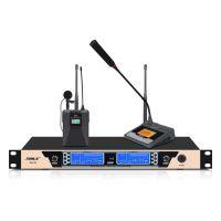 高保真无线U段话筒 家庭KTV俱乐部无线麦克风 SH-28一拖二会议鹅颈领夹话筒狮乐厂