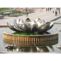 仿真不锈钢莲花雕塑金属荷叶铁艺镜面小品不锈钢玫瑰花雕塑