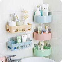 免打孔浴室置物架双层收纳架吸壁式卫生间角架厕所吸盘式卫浴挂件