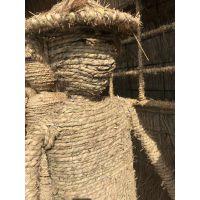 定制各种用草绳编制的造型 稻草人物雕塑 动物等等