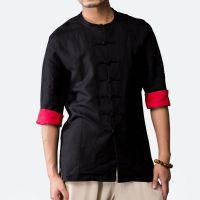 2018春季新款男士立领亚麻上衣开衫棉麻短袖衬衣麻料衬衫衣服#214接单来样生产