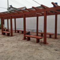 上海市中达景观建材厂家直销水泥防腐木长廊 仿木凉亭