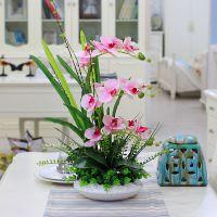 室内仿真蝴蝶兰摆设套装饰品客厅餐桌塑料假花盆景绢花插花艺术