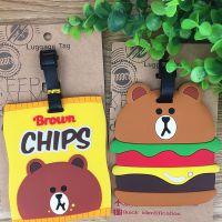 新款棕熊 汉堡熊熊造型PVC软胶行李牌 大号公车卡套吊牌挂饰