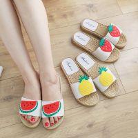 夏季凉拖室内女式拖鞋家用韩版水果室外平底一字拖家居浴室凉拖鞋