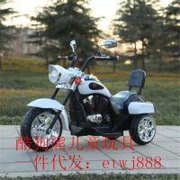 新款哈雷太子摩托车儿童电动车男女孩可坐脚踏电动三轮车一件代发