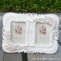 相框批发3.5寸双框树脂相框相架白色公主欧式复古影楼婚纱照片框