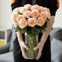 情人节手感保湿玫瑰花仿真花束 客厅家居过胶绢花高品质假花摆件