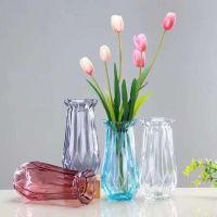 创意花瓶摆件欧式家居装饰花器彩色透明玻璃客厅餐厅桌面插花摆设