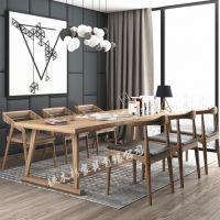 复古实木书桌loft电脑桌椅组合书桌写字台办公桌工作台桌原木长桌