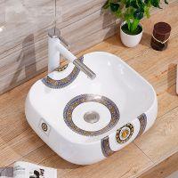 陶瓷卫浴圆形无孔彩金小鹿台面洗手盆陶瓷盆