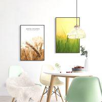 现代简约唯美绿色麦田装饰画客厅沙发背景墙壁画餐厅挂画一件代发