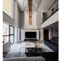 东原湖山樾装修案例 现代风格装修完工效果图 湖山樾在建工地