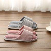 家居家用冬季情侣女男家具布四季室内地板软底亚麻棉拖鞋