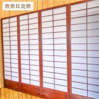 新款日式和风仿木格客厅料理店 布景玄关 折叠屏风隔断移动
