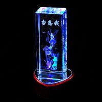 印花水晶桃心底座带灯 内雕3D效果 朋友同学生日礼物 教师节