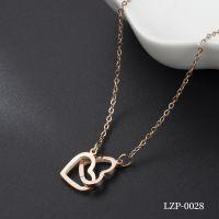 LZP日韩版时尚玫瑰金项链女式简约锁骨链钛钢装饰品配饰吊坠