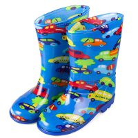 厂家直销批发PVC高筒儿童雨鞋雨靴 出口卡通男童防滑水鞋-