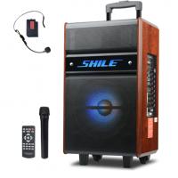 广州移动户外电瓶音响 广场舞音箱 便携式移动木质箱狮乐厂