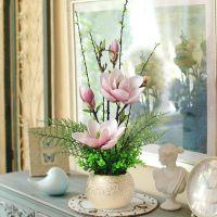 玉兰花仿真花插花套装摆件假花室内客厅餐桌塑料花艺家居饰品摆设
