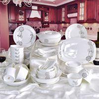 唐山亿美厂家批发陶瓷餐具 简约家用双人骨瓷碗盘勺套装
