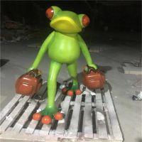 中山玻璃钢雕塑厂家 造型牛蛙卡通动物雕塑摆饰