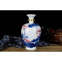 3斤装陶瓷泡酒瓶定做 手绘釉上荷花三斤装白酒瓶 高档酒坛图片