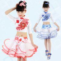 女童舞蹈演出服 儿童古典表演服现代舞蓬蓬纱裙中国风比赛套装