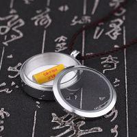 藏式圆形透明嘎乌盒吊坠可装以朱砂甘露丸舍利子男项链挂件护身符