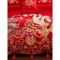 婚床全棉被套婚庆四件套结婚床上用品大红纯棉六件套刺绣床品新婚
