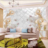 欧式仿软包墙布立体珠宝花朵电视背景墙壁纸卧室床头壁画定制墙纸