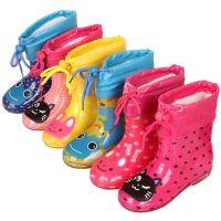 儿童雨鞋加绒皮口内胆秋冬保暖宝宝加绒雨靴 出口防滑小孩水鞋