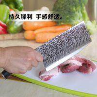 不锈钢厨房刀具德国砍骨花纹钢菜刀大马士革钢刀大号家用斩切肉刀