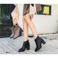 马丁靴2018春秋季新款韩版百搭英伦风粗跟短靴女尖头黑色复古皮靴