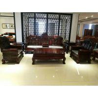 华夏一品印尼黑酸枝客厅沙发吉象,阔叶黄檀七件套沙发