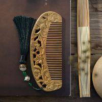 一件代发教师节礼物檀木梳子防静电按摩卷发直发家用雕花绿檀木梳
