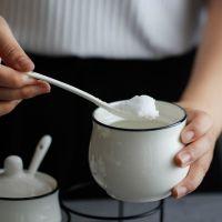 创意韩式陶瓷调味罐三件套装 家用厨房盐盅糖盒 欧式耐热调料瓶