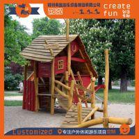 无动力小木屋滑梯、大型户外木屋主题滑梯定制、创意木屋滑梯直销