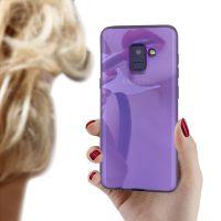 新款三星A8 2018电镀镜面手机壳tpu渐变软壳蓝光保护套3C配件批发