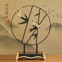 中式竹子铁艺摆件禅意装饰品书房书桌玄关酒柜家居工艺品乔迁礼物