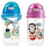 赞诺500ml儿童塑料水壶 热转印小淘气吸管杯子背带 可爱企鹅
