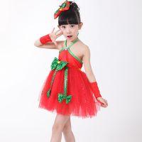 六一儿童演出服 步调一致蕾丝公主裙服装 女童挂脖舞蹈表演服