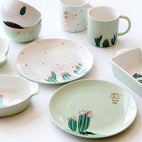 2017新款仙人掌餐具碗碟盘杯套装 创意陶瓷杯饭汤碗爆款推荐