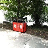 简约两投口木制垃圾桶 农场特色果皮箱 青蓝厂家定制生产