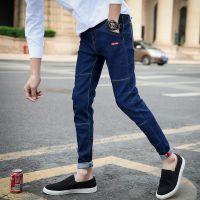 非主流夏季青少年男士修身黑色九分弹力紧身韩版小脚牛仔裤子9分