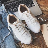 2018新款冬季厚底小白鞋女韩版系带休闲鞋女纯色平底松糕鞋女棉鞋