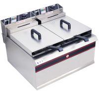 热销电炸炉油炸锅炸鸡炸薯条机双缸双筛加厚台式肯德基专用设备