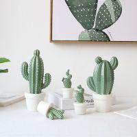 陶瓷仙人掌创意盆栽摆件 仿真植物盆栽北欧家居书房客厅装饰摆设