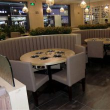 台湾火锅店半圆弧形卡座沙发圆桌椅子组合定制